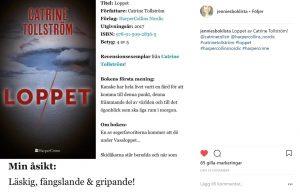 Loppet, Jennies boklista, Catrine Tollström, Tollström, Thriller