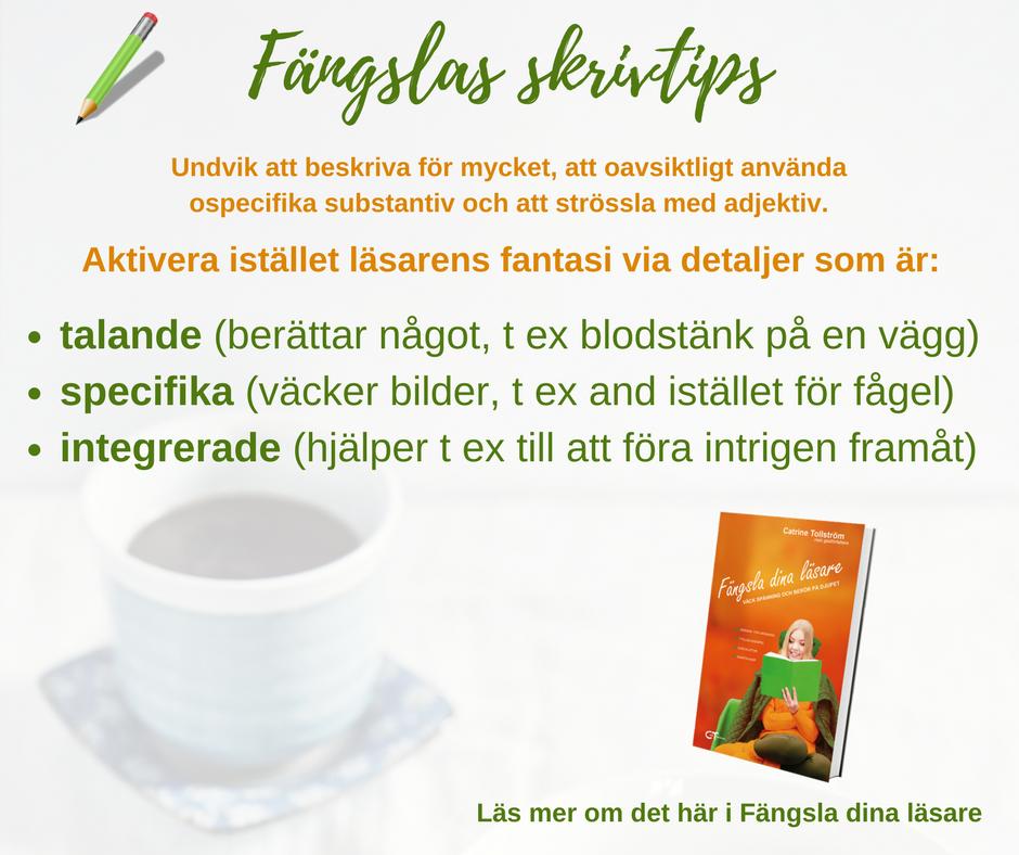 Catrine Tollström, skrivtips